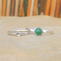 Personalised 5mm Emerald May birthstone and initial stacking ring set of two