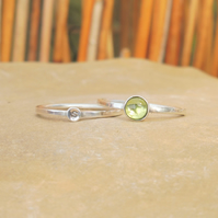 Personalised 5mm Peridot August birthstone and initial stacking ring set of two