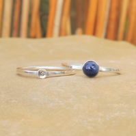 Personalised 5mm Sapphire September birthstone and initial stacking ring set