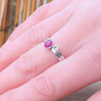 Personalised 5mm Ruby July birthstone and initial stacking ring set of two