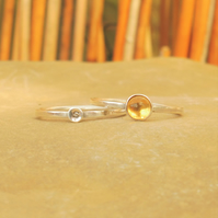 Personalised 5mm Citrine November birthstone and initial stacking ring set