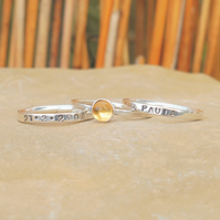 Personalised 5mm Citrine November birthstone stacking ring set of 3