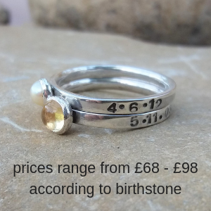 Personalised stacking rings with 4mm and 5mm birthstones, names and DOB