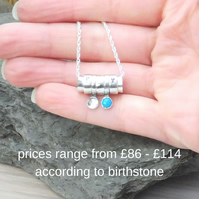 Personalised birthstone and initial sterling silver spinner tube pendant