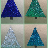 Christmas card- Set of four Blue glitter Christmas tree cards