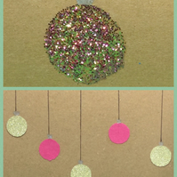 Christmas card- Set of four pink and gold bauble Christmas cards