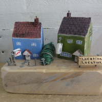 Little wooden cottage and village pub - original ornament