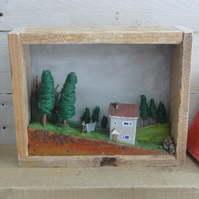 House on the hill - crafted landscape diorama