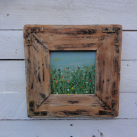 Meadow view - Original painting with handmade rustic frame