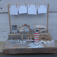 By the sea - reclaimed wood scene with photo bunting