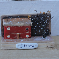 Little house in the snow - wooden ornament