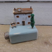 Little watermill house - handmade wooden ornament