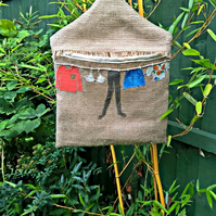 Hessian Peg Bag with Fabric Lining and Clothes Applique
