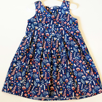 Navy Ditsy Floral A -Line Dress Baby and Toddler