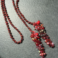 SALE 25% OFF Red & Grey Spiral Seed & Glass Bead Handmade Lariat Necklace