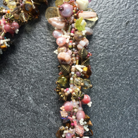 Multicoloured Handmade Summer Spiral Beaded Lariat Necklace