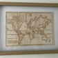 Wood Wall Art Engraving Pyrography.  World Map of Mountain Ranges