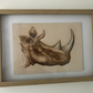 Framed Wood Wall Art - Engraving of a Rhino