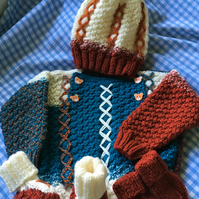 Baby boy hand knitted jumper, hat, mittens and boots