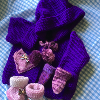baby girl hand knitted hooded coat, mittens and boots