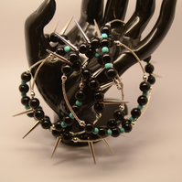 silver spikes black and turquose beaded wraparound braclet