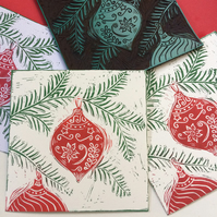Handprinted bauble Christmas card (pack of 5)