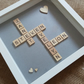 Personalised family name scrabble frame with wooden heart embellishments, Christ