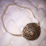 Luxury Gold Medical Concave Diamond Crystal Eye Patch In Nude