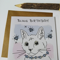 Bling birthday Cat