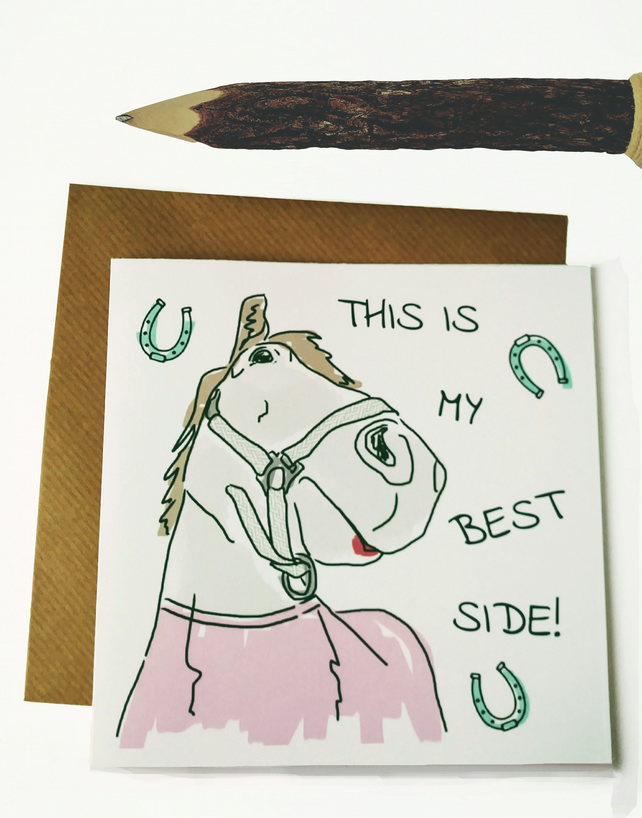 Selfie horse birthday card