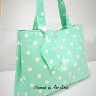 Oilcloth shoulder bag, Polka dot beach bag, shopping bag