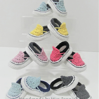 Baby Sneakers, Van style booties, Crochet Baby shoes