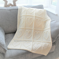 Handmade Crochet Heart Baby Blanket, Cot, Pushchair or Car Seat