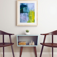 Digital Print of Original Abstract Painting in  Blocks of Colour - Blue Blush