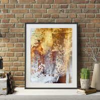 A Digital Print of an Original Abstract Painting with browns- Caramel Earth