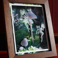 3D Decoupage Mounted With Etched Glass