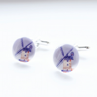 Blue and red windmill cufflinks