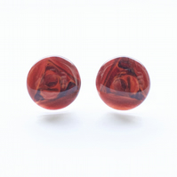 Red Abstract Art stud earrings