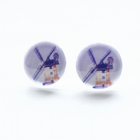 Blue & Red Windmill stud earrings