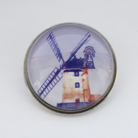 Blue Windmill handmade brooch