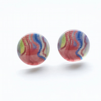 Abstract Art colourful stud earrings
