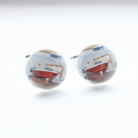 Red and White Boat photo cufflinks
