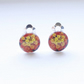Two tone red and yellow flower clip earrings