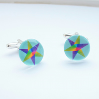 Rainbow Star Cufflinks - Blue