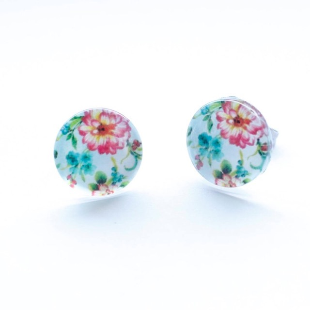 Pink and green floral stud earrings