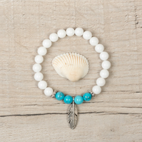 White Jade and Turquoise Beaded Bracelet, Silver Feather & Beads Boho Gift