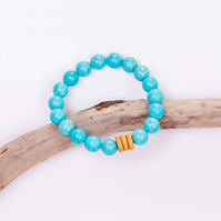 Boho Turquoise Womens Bead Bracelet with Wood Feature Beads