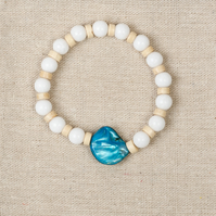 Womens White Jade and mother of pearl bracelet, wood beads, boho