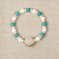 Womens White Jade, Turquoise and mother of pearl bracelet, wood beads, boho