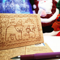Christams Engraved Wooden Cards